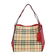 Burberry The Small Canter Horseferry Check Tote Bag - Honey /Red