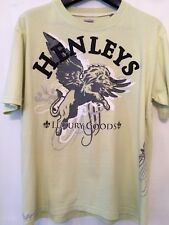 Used Mens Lime Green Henleys Studded Motif T Shirt Large