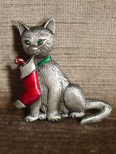 """JJ"" Jonette Jewelry Silver Pewter 'Cat Holding Christmas Stocking' Pin"