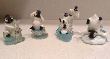 Lot of 4 Penguin Figurines Polar Playmates Hamilton Snow Village Adventures