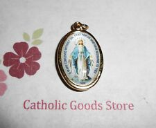 Gold Tone and Enameled Our Lady of Grace the Miraculous Medal Pendant 1 Inch