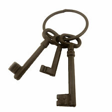 "Heavy Duty Cast Iron Pirate Costume Prop Jailer 3 Keys Large 8.5"" Skeleton Ring"