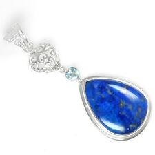 8.68 Grams 925 Sterling Silver Top Hand Made Lazurite Blue Topaz Pendant Jewelry