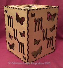 Mum Butterfly Mdf Wood lamp night Light Box 18cm Tall Wooden Craft