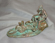 Vintage Miniature Erotic 2-part Bronze Recumbent Satyr & Nude Bacchante w/Grapes