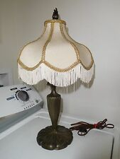 ANTIQUE PAIRPOINT SPELTER TABLE LAMP FRINGE SHADE NICE VINTAGE PIECE