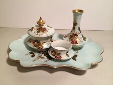 Antique Hand Painted Limoges Vanity Dresser Tray Set With Gold Accents Aqua Base
