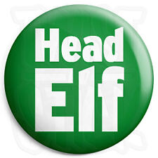 Head Elf - 25mm Button Badge - Xmas Christmas Santa's Grotto Worker Helper Staff