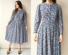 1980's Vintage Laura Ashley Victorian Style Floral Cotton & Wool Mix Midi Dress