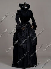 Victorian Gothic Regal Queen Black Dress Gown Steampunk Theatre Costume V 331 M