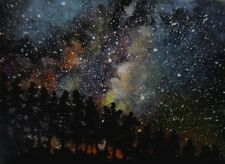 ACEO art card Original fantasy night sky stars trees landscape painting signed