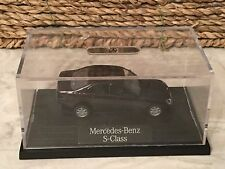 Micro Black Mercedes-Benz S-Class Plastic Car Attached to Base In Plastic Case