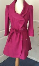 TOPSHOP - PINK FLARE MILLITARY STYLE WOOL BLEND TRENCH COAT .. 3/4 SLEEVES UK 10