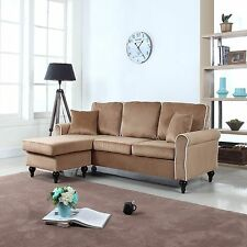 Traditional Small Space Velvet Sectional Sofa with Reversible Chaise - Champagne