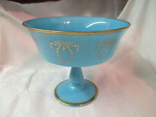 Antique France Portieux Vallerysthal turquoise blue Compote gold wreath trim
