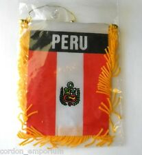 PERU MINI POLYESTER INTERNATIONAL FLAG BANNER 3 X 5 INCHES