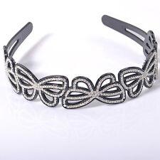 Gift lady girl women headband alice band diamante butterfly hair accessory