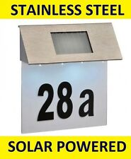 Solar Powered 4 LED Illuminated House Door Number Light Wall Plaque Stainless