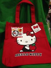 Sanrio 35th Anniversary Hello Kitty Red Canvas Tote Bag w/ Bonus Pins - RARE!