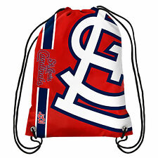 MLB St Louis Cardinals Big Logo Side Stripe Drawstring Backpack Backsack