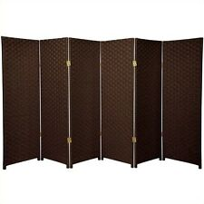 Oriental Furniture Six Panel Woven Fiber Room Divider in Dark Mocha