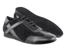 Black Leather Suede Dance Shoes Salsa Latin Bachata Merengue Mens Very Fine