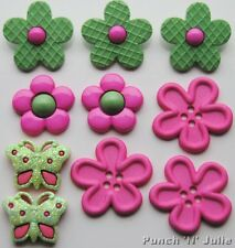 PICK A POSIE SORBET - Flower Garden Butterfly Novelty Dress It Up Craft Buttons