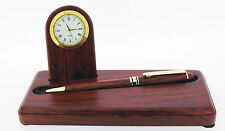 Rosewood Desk Set with Pen and Clock
