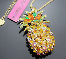 NEW Betsey Johnson Yellow Crystal Pineapple Pendant Fruit Gold Long Necklace!