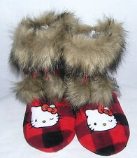Hello Kitty Slipper Boots Red Plaid NICE VALENTINE GIFT FREE SHIPPING SMALL 5-6