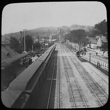 Glass Magic Lantern Slide LITTLE FALLS 4 TRACK RAILWAY C1890 PHOTO USA NEW YORK