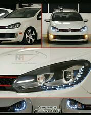 VW Golf R20 GTD LED DRL MK6 HEADLIGHTS 15 LED GTI 2009 UK COMPLETE WITH HID kit