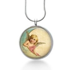 Angel on moon  necklace - gifts for women - christians, christmas jewelry