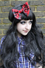 RED TARTAN BIG BOW HAIR FOREHEAD HEAD BAND HIPSTER INDIE GRUNGE FESTIVAL