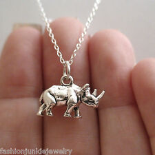 Rhino Charm Necklace - 925 Sterling Silver *NEW* Rhinoceros Safari Zoo Animal