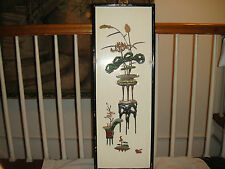 Antique Japanese Panel Screen-Jade Relief On Wood Backing-Unusual Japanese Art