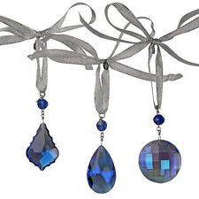 KIRKS FOLLY SHIMMER CRYSTAL HANGING WINDOW ORNAMENT SET - BLUE ~ BOXED set of 3