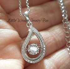 "925 Sterling Silver ""IN MOTION"" Rhythm Diamond cut Charm Pendant Chain Necklace"