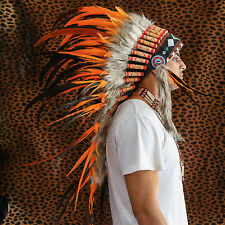 CHIEF INDIAN HEADDRESS 95CM ORANGE FEATHERS Native American Costume war bonnet