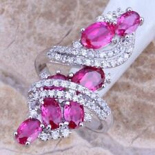 Awesome  Pink Sapphire and   White Topaz  Ring 925 silver   Size   8.5