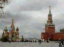 "RUSSIA MOSCOW RED SQUARE Painting Giclee Canvas Signed 16""x20"" Impressionism Art"