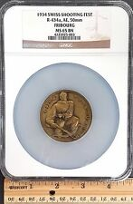 1934 Swiss Shooting Fest Medal, R-434a, AE, 50mm, Fribourg, NGC MS 65 BN! sku 2