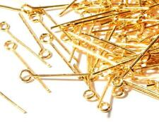 (1250) 16mm vtg Bohemian gold tone jewelry chandelier loop head connector pins