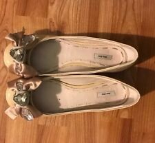 Miu Miu 38 8 7.5 Ballet Flats Shoe Beige Nude Jewel Patent Leather Low Heel MINT