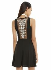 New Hot Topic Black Spine Skeleton Skater Dress Large Pinup Goth Grunge Large