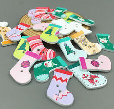 DIY 25X Wooden Buttons Mix-color Sewing Scrapbooking Christmas stocking 30mm