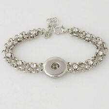 SNAP SILVER BRACELET Interchangeable JEWELRY BUTTON 18mm Fits Ginger Snaps