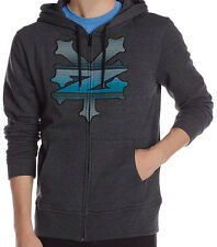 R1150 • Zoo York Threaded Zip-Up Hoodie • NWT Mens Large Charcoal / Blue  #25193