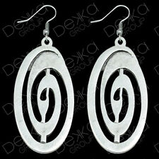 Silver Oval Large Disc Drop Earrings Turkish Ottoman Ethnic Tribal Gypsy Boho