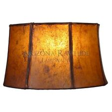 "Southwestern Rawhide - Leather Lamp Shade-8.5""Hx14""Wx12.5"" Top -Amber Color"